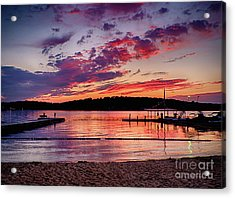 Lake Beach Sunset Acrylic Print by Mark Miller