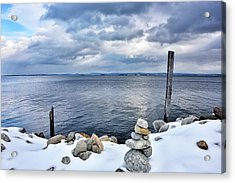 Acrylic Print featuring the photograph Lake Champlain During Winter by Brendan Reals