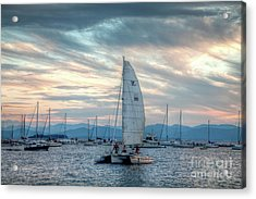 Lake Champlain Sunset Sail Acrylic Print by Susan Cole Kelly