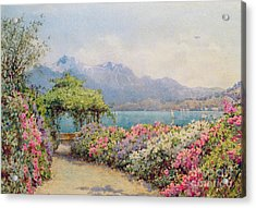 Lake Como From The Villa Carlotta Acrylic Print by Ernest Arthur Rowe