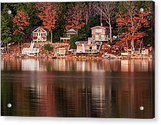 Lake Cottages Reflections Acrylic Print