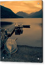 Lake Crescent Boats At Sunset Acrylic Print by Dan Sproul