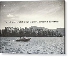 Lake Cruise Quote Acrylic Print by JAMART Photography