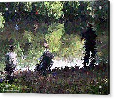 Lake Fishing Impressionist Painting Acrylic Print by Dawn Hay