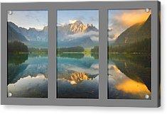 Lake Fusine In Triptych Acrylic Print by Mario Carini