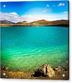 Lake Graenavatn In Iceland Green And Blue Colors Acrylic Print