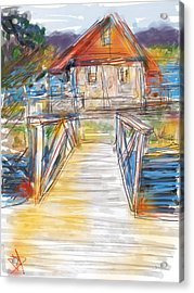 Lake House Acrylic Print by Russell Pierce