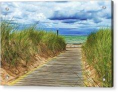 Lake Huron Boardwalk Acrylic Print by Bill Gallagher