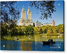 Lake In Central Park Acrylic Print by Allan Einhorn