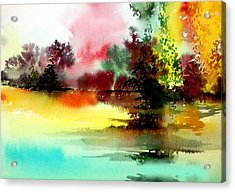 Lake In Colours Acrylic Print by Anil Nene