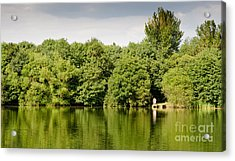Lake Jetty Dinton Pastures Lakes And Nature Reserve Shore Line Acrylic Print by Andy Smy