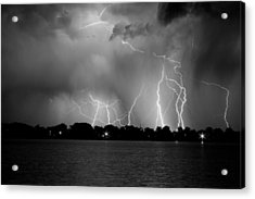Lake Lightning Two Bw Acrylic Print by James BO  Insogna