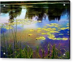 Lake Lilly Monet Style Acrylic Print by Louise Lavallee