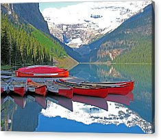Acrylic Print featuring the photograph Lake Louise Canoes by Gerry Bates