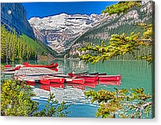 Lake Louise Acrylic Print by Dennis Cox WorldViews