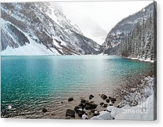 Lake Louise Mountain Snow Forest Landscape Acrylic Print by Andrea Hazel Ihlefeld