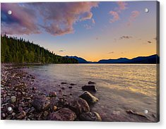 Lake Mcdonald At Sunset Horizontal Acrylic Print
