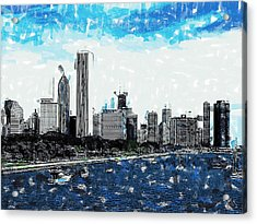 Lake Michigan And The Chicago Skyline Acrylic Print