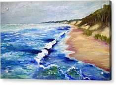 Lake Michigan Beach With Whitecaps Acrylic Print