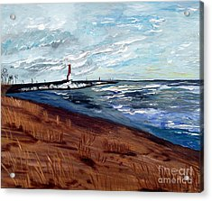 Acrylic Print featuring the painting Lake Michigan Beauty by Ayasha Loya