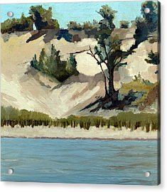Lake Michigan Dune With Trees And Beach Grass Acrylic Print
