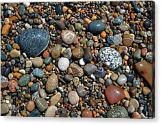 Acrylic Print featuring the photograph Lake Michigan Stone Collection by Michelle Calkins