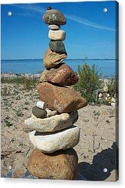 Lake Michigan Stone Pyramid Acrylic Print by Johnny Yen