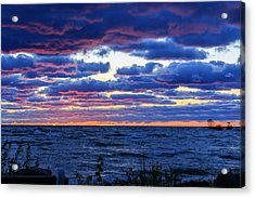 Lake Michigan Windy Sunrise Acrylic Print by Joni Eskridge