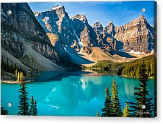 Acrylic Print featuring the photograph Lake Moraine Valley Of Ten Peaks by Claudia Abbott