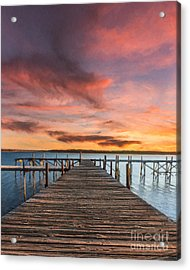 Lake Murray Lodge At Sunrise Acrylic Print by Tamyra Ayles