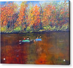 Lake Nockamixon Autumn Acrylic Print by Loretta Luglio