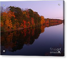 Lake Nockamixon Twilight Reflection In Autumn Acrylic Print by Anna Lisa Yoder