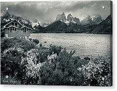 Acrylic Print featuring the photograph Lake Pehoe In Black And White by Andrew Matwijec