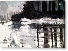 Acrylic Print featuring the painting Lake Placid Black And White Study by Charlie Spear