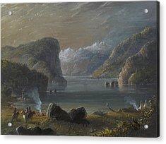 Lake Scene Acrylic Print by Alfred Jacob Miller
