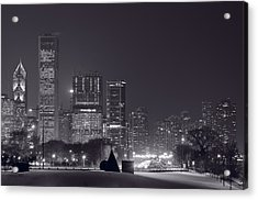 Lake Shore Drive Chicago B And W Acrylic Print by Steve Gadomski