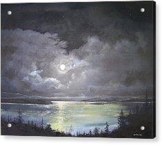 Lake Shore Moonscape  Acrylic Print by Ken Ahlering