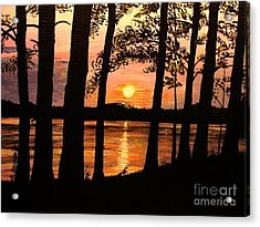 Acrylic Print featuring the painting Lake Sunset by Patricia L Davidson