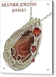 Lake Superior Agate Pendant In Sterling Silver With Swarovski Crystal Lsapss5 Acrylic Print