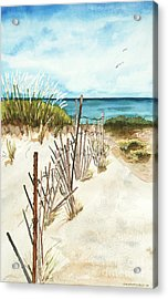 Acrylic Print featuring the painting Lake Superior Munising by Sandra Strohschein