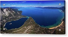 Acrylic Print featuring the photograph Lake Tahoe Aerial Panorama - Emerald Bay Aerial by Brad Scott
