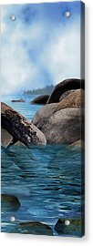 Lake Tahoe With Wooden Boat Acrylic Print by Julie Rodriguez Jones
