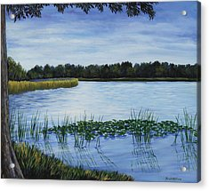 Acrylic Print featuring the painting Lake Tarpon Shoreline On A Cloudy Day by Penny Birch-Williams