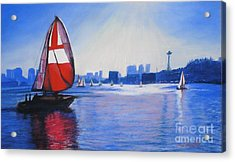Lake Union And The Red Sail Acrylic Print