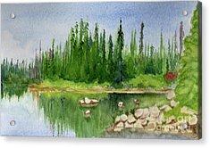 Acrylic Print featuring the painting Lake View 1-2 by Yoshiko Mishina