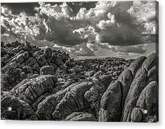 Acrylic Print featuring the photograph Lake Watson Granite Rocks Prescott Arizona Bnw 2482 by David Haskett