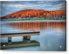Autumn Red At Lake White Acrylic Print by Jaki Miller