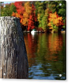 Lake Winnepesaukee Dock With Foliage In The Distance Acrylic Print