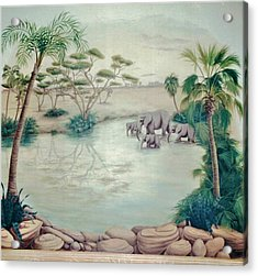 Lake With Oasis And Palm Trees Acrylic Print