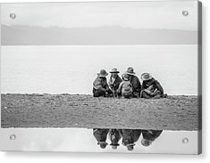 Acrylic Print featuring the photograph Lakeshore Discussion, Namtso, 2007 by Hitendra SINKAR